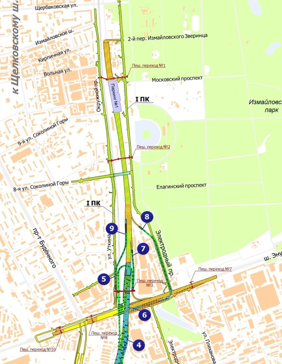 Схема участка Четвертого транспортного кольца (ЧТК) в районе шоссе Энтузиастов.